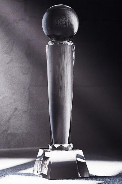 Sleek Crystal Column Statuette with Sphere