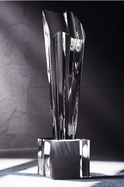 Large Crystal Trophy with Cube Base