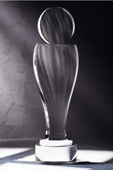 Human Figure Plaque Crystal Statuette