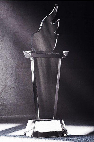 Olympic Torch Crystal Statuette