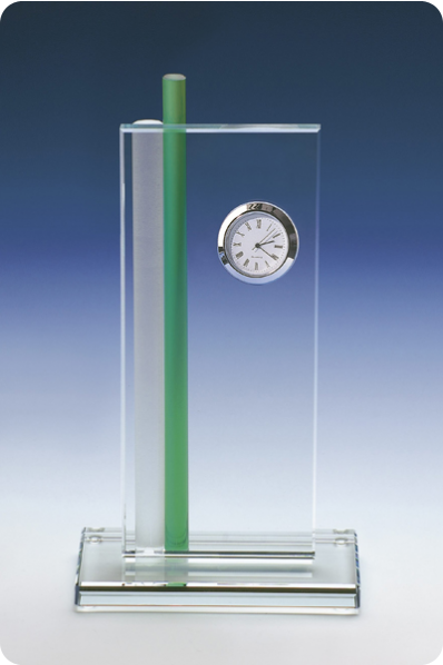 Crystal Plaque with Clock