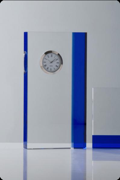 Blue Accent Crystal Clock Plaque