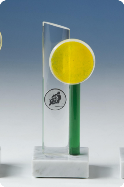 Yellow & Green Glass Statuette