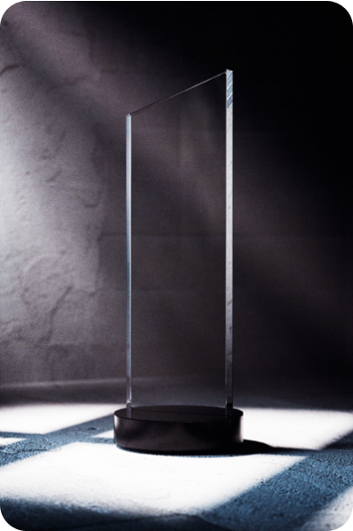 Narrow Crystal Statuette with Base