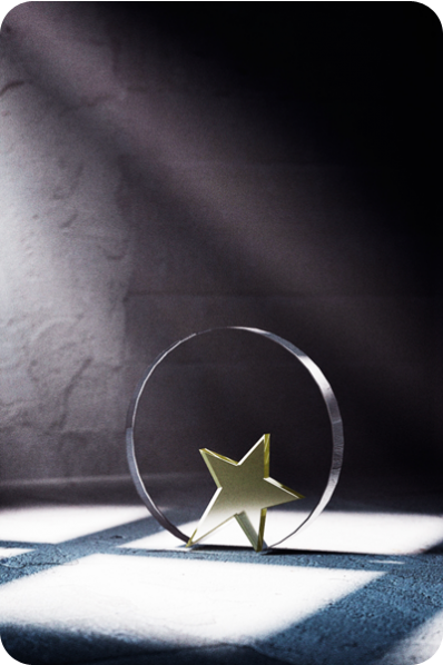 Glass Circle with Star Statuette/Plaque