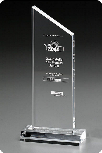 Beveled Top Crystal Slender Plaque