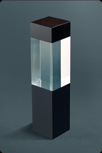 Clear & Black Glass Cube Statuette