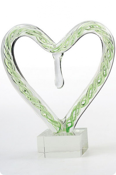 Green Glass Heart Figure