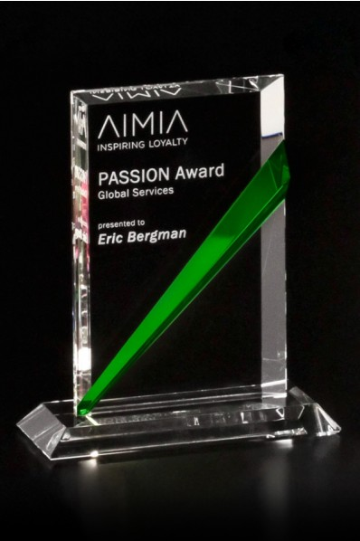Squared glass award with color